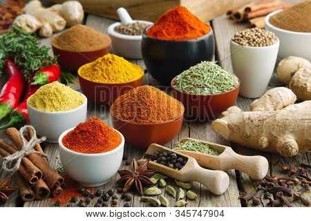 Various Aromatic Colorful Spices And Herbs. Ingredients For Cooking. Ayurveda Treatments. Ayurveda T