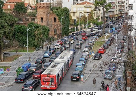 Thessaloniki, Greece - January 19 2020: Traffic Jam At The City Center Roads. Greek Drivers In Stopp