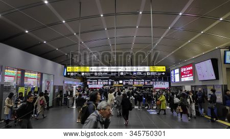 Kyoto, Japan-25 Nov, 2019: People And Tourists At The Entrance Of Kyoto Train Station. Kyoto Station