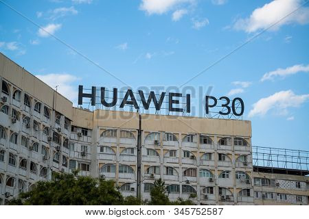Almaty, Kazakhstan, Circa September 2019: Huawei P30 Ad On The Building In Almaty, Kazakhstan