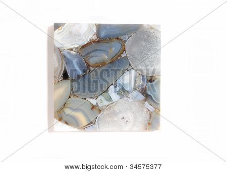 Single Piece of blue and neutral colors tile poster