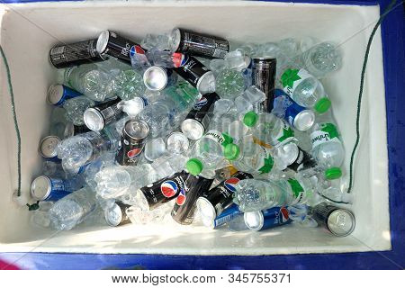 Bangkok, Thailand - January 19, 2020: Many Of Iced Beverage In Ice Bucket On Being Covered By Ices F
