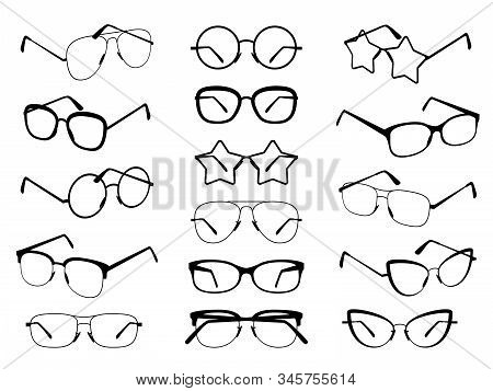 Glasses Silhouettes. Modern Eyeglasses, Fashion Black Eyewear Symbols. Stylish Retro Sunglasses. Med