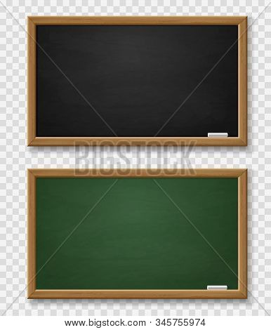 Blackboard. Realistic Green And Black Chalkboard With Wooden Frame And Chalk, Blackboards Template F