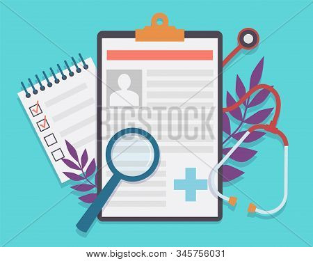 Medical Record. Patient Card Medical History And Diagnosis, Medicine Checklist With Checkbox. Health