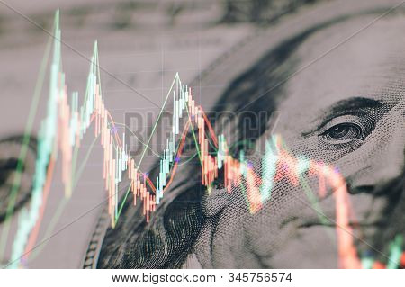 Stock Market Graph On Led Screen. Finance And Investment Concept. Selective Focus. Charts Of Financi