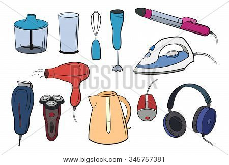 Group Of Technical Equipment Icons Isolated On White Shaver, Iron, Hair Dryer, Blender, Kettle, Head