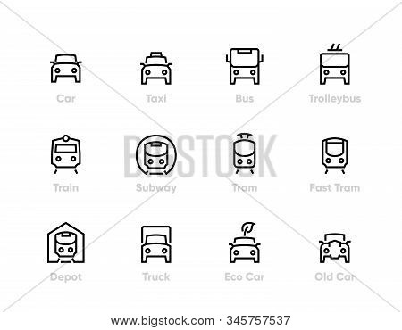 City Transport Line Vector Icons. Car, Bus, Trolleybus, Subway, Tram And Eco Car. Editable Outline S