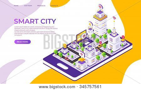 Isometric City Landing Page. Futuristic Digital Town With Innovative Buildings And Technology. Vecto
