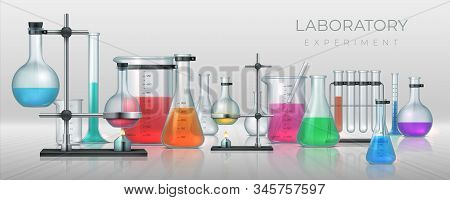 Realistic Laboratory. Chemistry Lab Equipment, 3d Flask Tubes Beaker And Other Measuring Colored Fil
