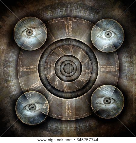 Time Vortex With An Antique Clock Face Surrounded By Four Floating Eyes Against A Grunge Background