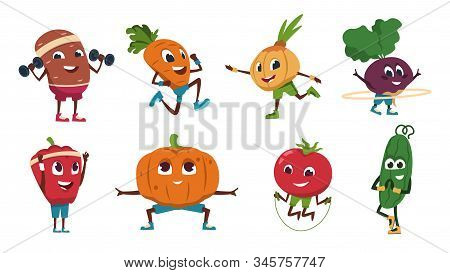 Cartoon Vegetables Exercises. Healthy Food Characters Doing Fitness Activities And Sport Workout. Ve