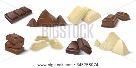Chocolate Pieces. Realistic Dark White And Milk Chocolate Bars And Candies, Chunk Of Cocoa Dessert A