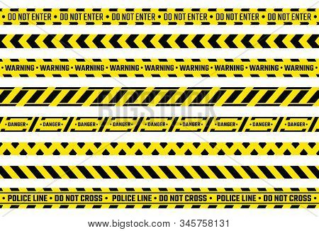 Caution Tape. Yellow Attention Ribbon With Warning Signs, Police Evidence Protection And Constructio
