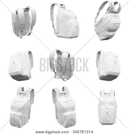 Backpack Isolated On The White Background 3d Rendering