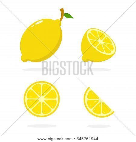 Lemon Vector. Slice Of Lemon. Lemon Illustration. Fresh Lemon In Flat Minimalist Style