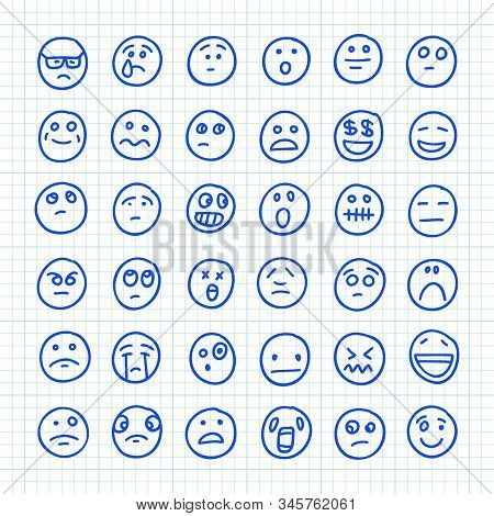 A Set Of Emoji Icons Drawn By Hand On Squared Paper: Part 03. Vector Doodle Illustration.