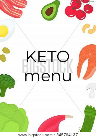 Keto Food Vertical Banner. Ketogenic Diet Concept. Healthy Menu. Low Carb, High Fat.