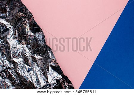 Multicolored Background With Crumpled Holographic Silver Foil Texture, Colorful Pink And Trendy Blue