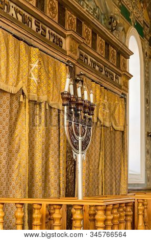 Kutaisi, Georgia, October 13, 2019 : Big Menorah In The Hall Of The Old Synagogue On The Boris Gapon
