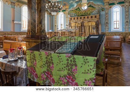 Kutaisi, Georgia, October 13, 2019 : Table With Parish Books In The Hall Of The Old Synagogue On The
