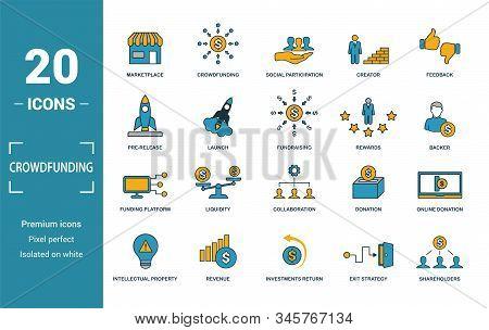 Crowdfunding Icon Set. Include Creative Elements Marketplace, Social Participation, Pre-release, Rew