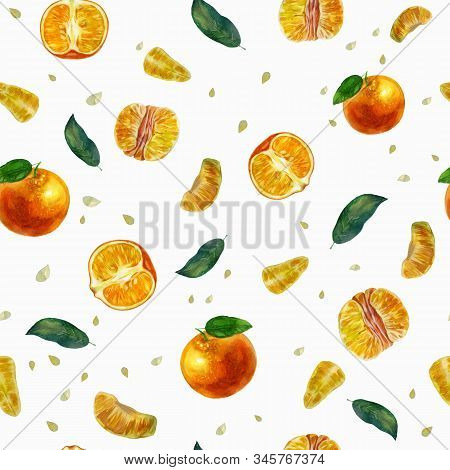 Watercolor Illustration, Pattern. Tangerines, Slices Of Tangerines And Tangerine Leaves. White Backg