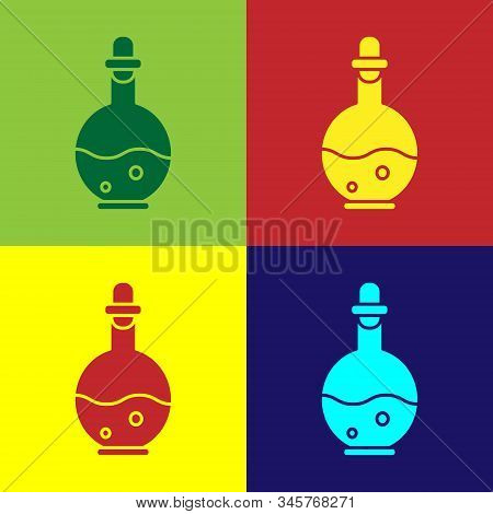 Color Glass Bottle With Magic Elixir Icon Isolated On Color Background. Computer Game Asset. Vector