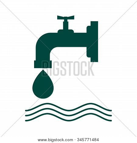 Vector Water Tap Icons Isolated On White Background. Symbol Of Water Drop From The Tap. Leaky Water