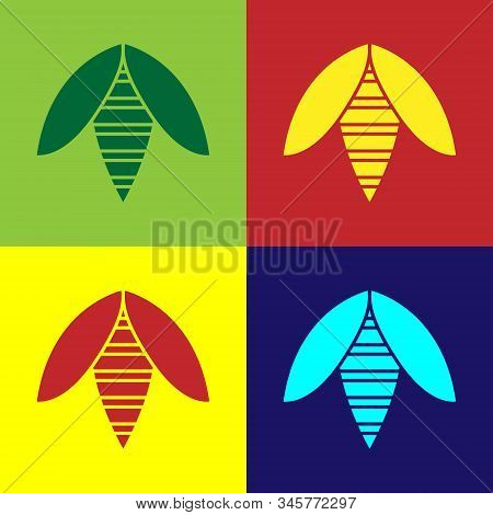Color Bee Icon Isolated On Color Background. Sweet Natural Food. Honeybee Or Apis With Wings Symbol.