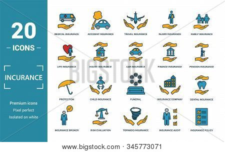 Insurance Icon Set. Include Creative Elements Medical Insurance, Travel Insurance, Life Insurance, F
