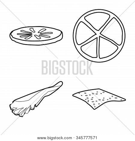Isolated Object Of Fastfood And Lunch Icon. Collection Of Fastfood And Ingredient Stock Vector Illus