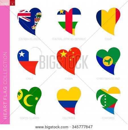 Сollection Of Flags In The Shape Of A Heart. 9 Heart Icon With Flag Of Country Cayman Islands, Centr