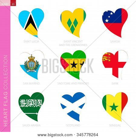 Сollection Of Flags In The Shape Of A Heart. 9 Heart Icon With Flag Of Country Saint Lucia, Saint Vi