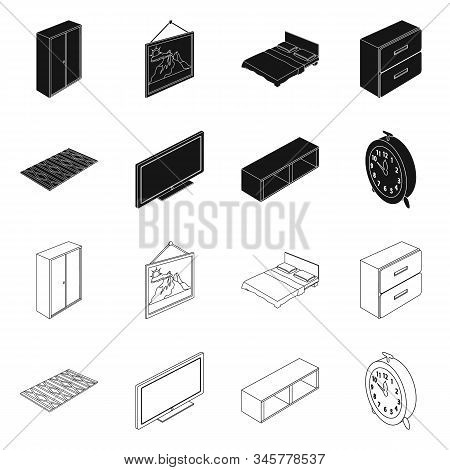Vector Design Of Bedroom And Room Icon. Collection Of Bedroom And Furniture Stock Vector Illustratio