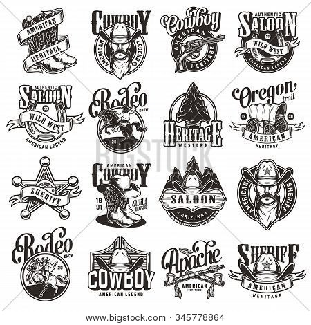 Vintage Wild West Emblems Collection With Rodeo And Cowboy Labels And Prints On White Background Iso