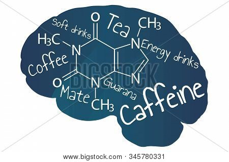 Blue Human Brain With White Inscription Caffeine And Names Of Caffeinated Drinks. Template For Backg
