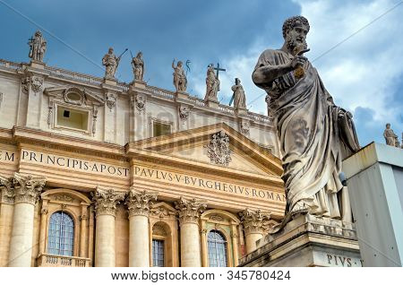 Vatican City - May 30, 2019 - St. Peters Basilica And St. Peters Square Located In Vatican City Near