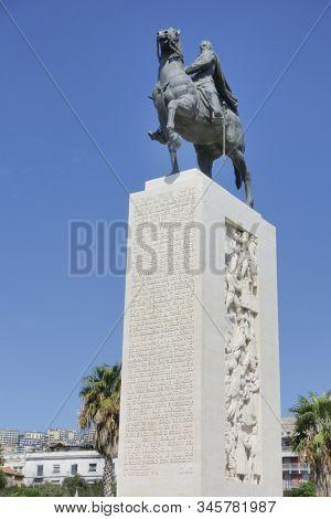 Naples, Italy - September 09, 2019: Statue Of Armando Diaz On Boardwalk In Napoli, Italy. Diaz Was A