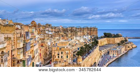 La Valletta, Malta - January 8,2020:  Valletta With Traditional Maltese Buildings With Colorful Shut