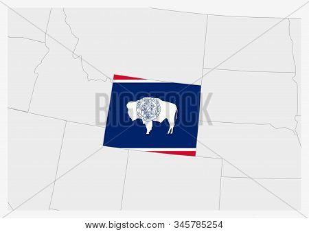 Us State Wyoming Map Highlighted In Wyoming Flag Colors, Gray Map With Neighboring Usa States.