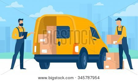 Fast Delivery Service. Flet Design Vector Concept Of Online Retail And Store Delivery For Mobile App