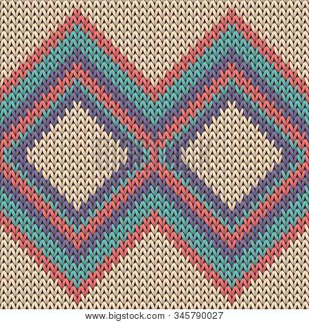 Handmade Rhombus Argyle Knitting Texture Geometric Seamless Pattern. Plaid Knitwear Fabric Print. No