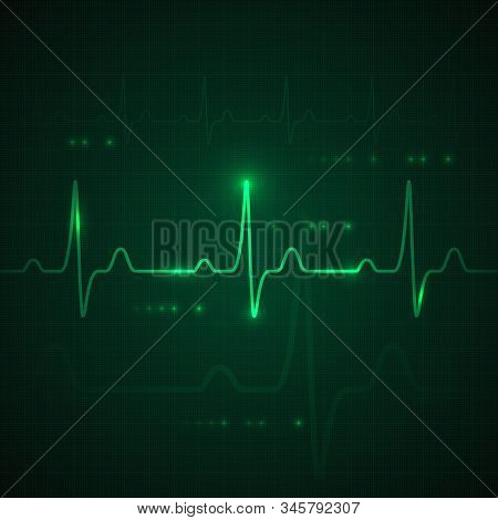 Heart Pulse On Green Display. Heartbeat Graphic Or Cardiogram. Hospital Monitoring Stress Rate. Vect