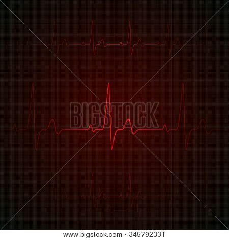 Heart Pulse On Red Display. Heartbeat Graphic Or Cardiogram. Hospital Monitoring Stress Rate. Vector
