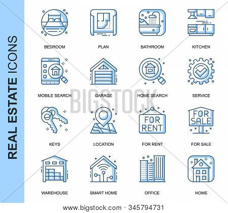 Thin Line Real Estate Related Vector Icons Set For Website And Mobile Site And Apps. Outline Icons D