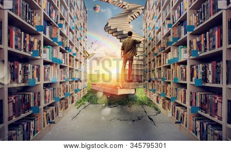 New Hidden World Behind The Library. Books Open The Mind For Imagination