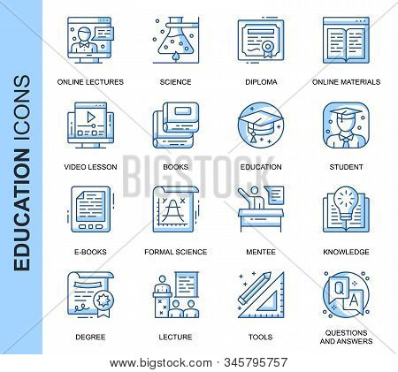 Thin Line Education Related Vector Icons Set For Website And Mobile Site And Apps. Outline Icons Des