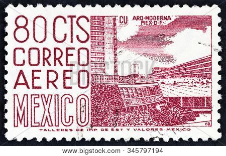 Mexico - Circa 1963: A Stamp Printed In Mexico Shows New Sports Center At The University City, Mexic