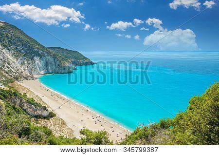 Milos Beach On Lefkada Island, Greece. Mylos Beach Near The Agios Nikitas Village On Lefkada, Greece